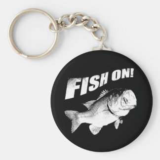 Largemouth bass fish on basic round button key ring