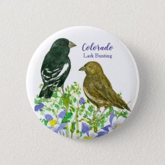 Lark Bunting Sparrow Birds Colorado Columbine 6 Cm Round Badge