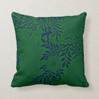 Larkspur in Vibrant Green and Blue Cushion
