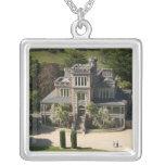 Larnach Castle, Dunedin, New Zealand - aerial Square Pendant Necklace