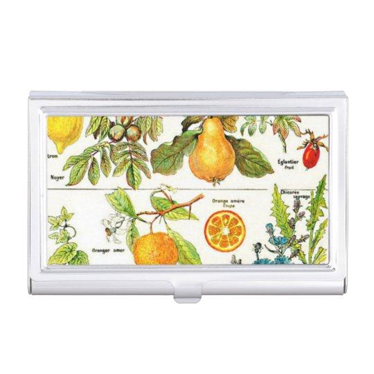 Larousse Fruit Orange Pear Grape Painting Business Card Holder