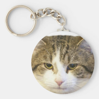 Larry the Downing Street Cat Face Basic Round Button Key Ring
