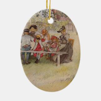 Larsson: Breakfast under the Big Birch Ceramic Oval Decoration