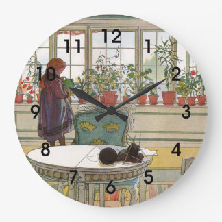 Larsson: Flowers on a Windowsill artwork Large Clock