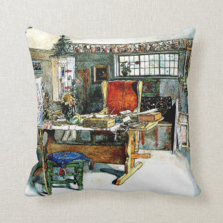 Larsson - The Studio, Carl Larsson painting Throw Pillow