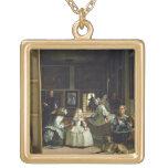 Las Meninas or The Family of Philip IV, c.1656 Square Pendant Necklace
