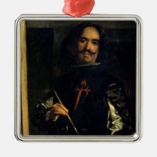 Las Meninas or The Family of Philip IV Silver-Colored Square Decoration