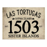 Las Tortugas Sister Islands Est. 1503 RUSTIC Postcard