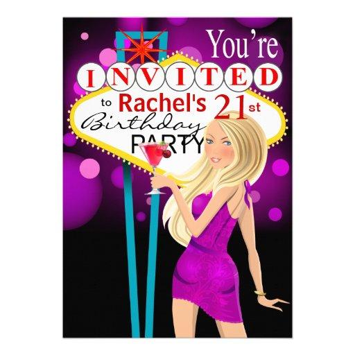 Las Vegas 21st Birthday Party purple Announcements