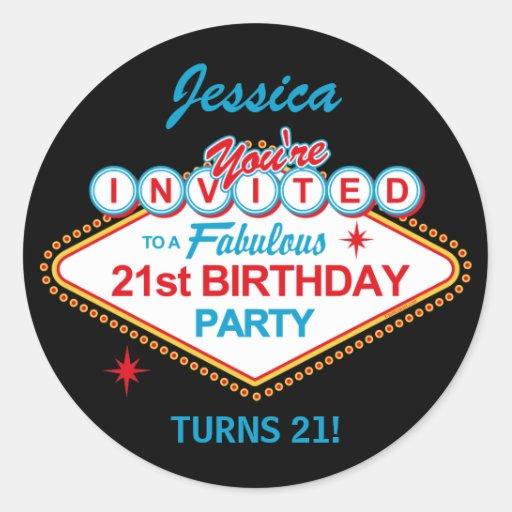 Las Vegas 21st Birthday Party Stickers