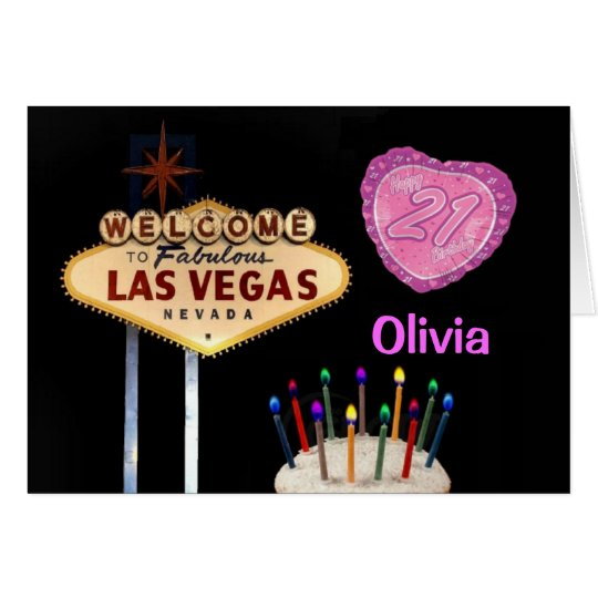 Las Vegas 21st Birthday PINK HEART BALLOON Card