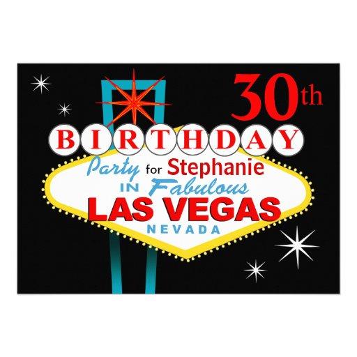 Las Vegas 30th Birthday Party Cards