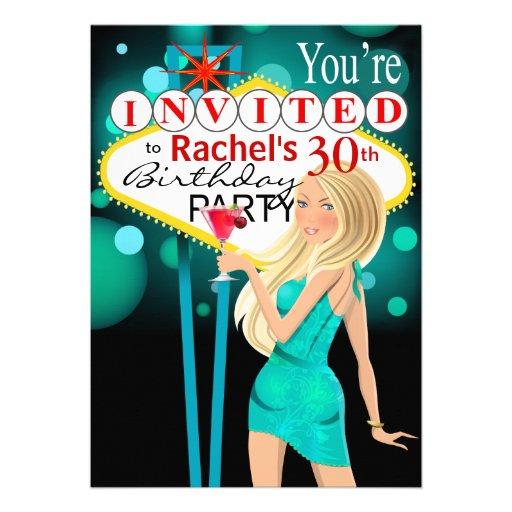 Las Vegas 30th Birthday Party teal Invitations
