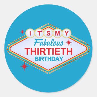 Las Vegas 30th Birthday Round Sticker