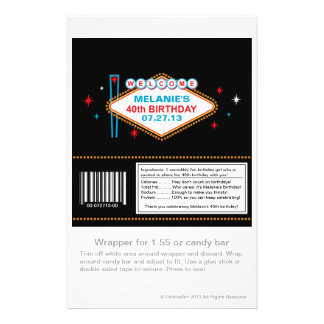 Las Vegas 40th Birthday Candy Wrapper 14 Cm X 21.5 Cm Flyer