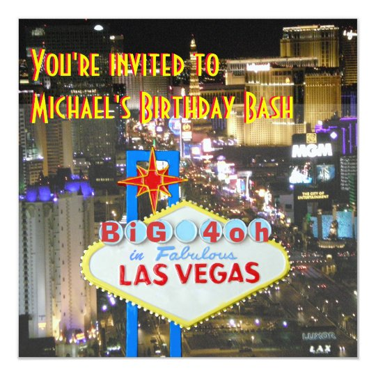 Las Vegas 40th Birthday Party personalised sign Card