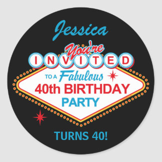 Las Vegas 40th Birthday Party Stickers