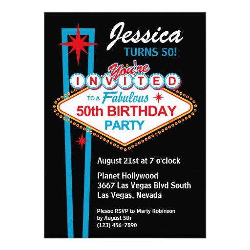 Las Vegas 50th Birthday Party Invitation