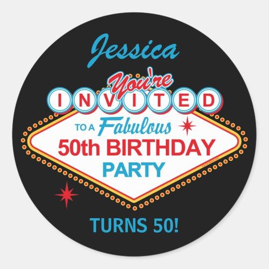 Las Vegas 50th Birthday Party Stickers