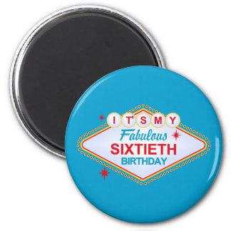 Las Vegas 60th Birthday 6 Cm Round Magnet