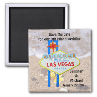 Las Vegas 9th Island Save the Date Square Magnet