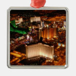 Las Vegas aerial view from a blimp Silver-Colored Square Decoration
