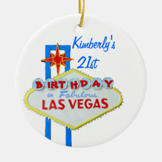Las Vegas Age 21 Birthday Christmas Tree Ornament