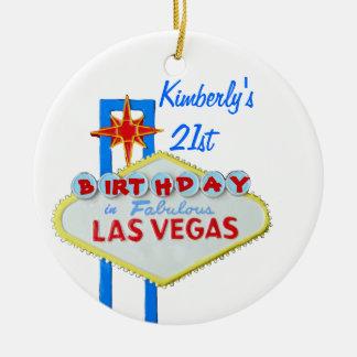 Las Vegas Age 21 Birthday Round Ceramic Decoration
