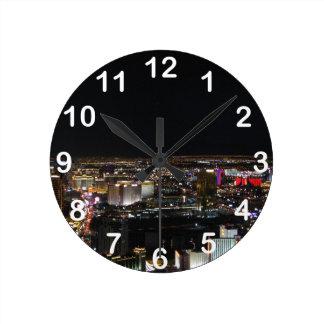 Las Vegas at Night Round Clock