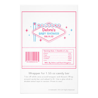 Las Vegas Baby Shower Candy Wrapper Flyer Design