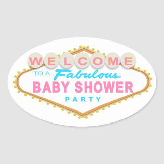 Las Vegas Baby Shower Pink & Blue Sign Stickers