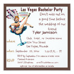 Las Vegas Bachelor Party with Showgirl Art 13 Cm X 13 Cm Square Invitation Card