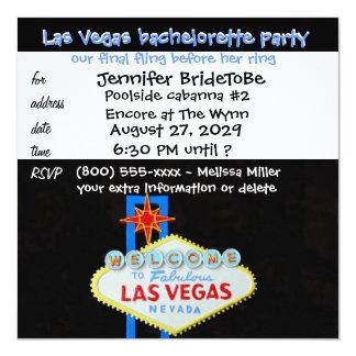 "Las Vegas Bachelorette Final Fling 5.25"" Square Invitation Card"