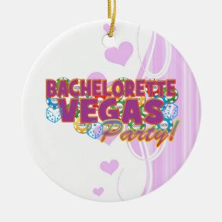 Las Vegas bachelorette wedding bridal shower party Round Ceramic Decoration
