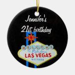 Las Vegas Birthday 21 Pendant Round Ceramic Decoration