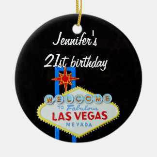 Las Vegas Birthday 21 Pendant Round Ceramic Decoration