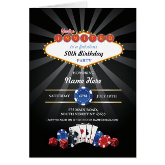 Las Vegas Birthday Card Invitation