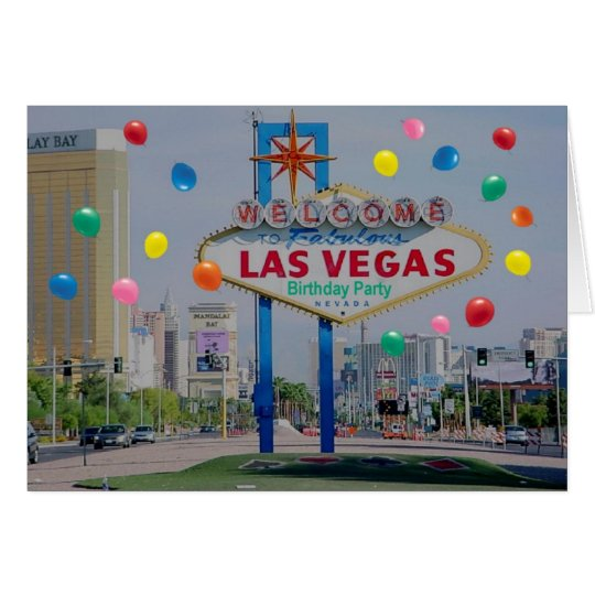 Las Vegas Birthday Party Card with Balloons!