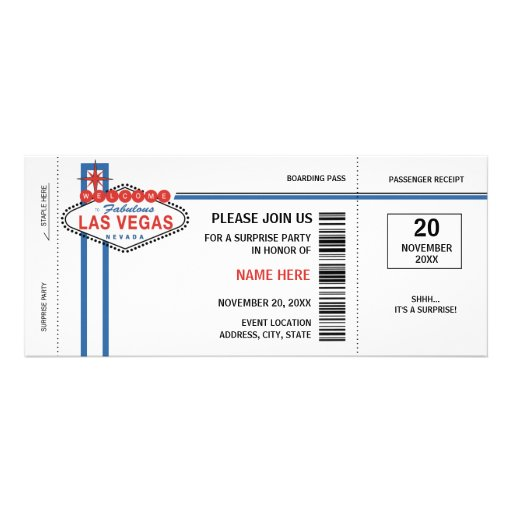 Las Vegas Boarding Pass Invitations