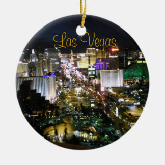 Las Vegas Boulevard Night View Round Ceramic Decoration