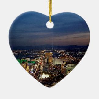 Las Vegas by Night 2 Ceramic Heart Decoration