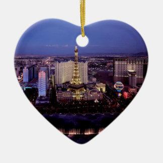Las Vegas by Night 3 Ceramic Heart Decoration