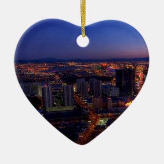Las Vegas by Night 5 Ceramic Heart Decoration