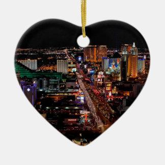 Las Vegas by Night Ceramic Heart Decoration