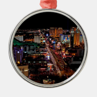 Las Vegas by Night Silver-Colored Round Decoration