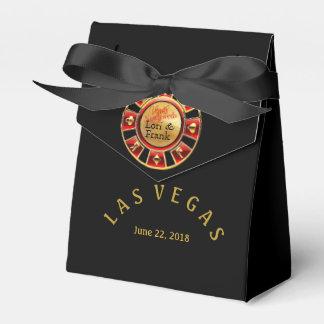 Las Vegas casino chip | black gold & red Wedding Favour Boxes