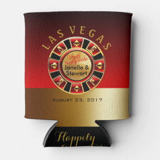 Las Vegas Casino Chip Wedding | red gold Can Cooler