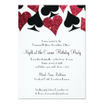 Las Vegas Casino Party Black and Faux Red Glitter 13 Cm X 18 Cm Invitation Card