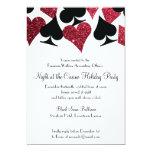 Las Vegas Casino Party Black and Faux Red Glitter 13 Cm X 18 Cm Invitation Card