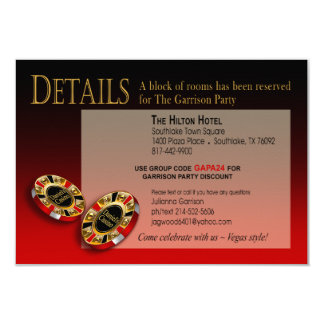 Las Vegas Casino Party Details | red black gold 9 Cm X 13 Cm Invitation Card